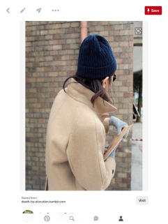 simple Chic: Camel Wool Coat & Navy Beanie