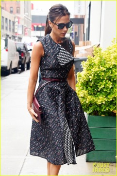 New York, NY - Fashion designer, Victoria Beckham, kept her style sexy but demure when she stepped out on the streets of Manhattan. The uber stylish star wore a sleeveless printed dress, reminiscent of the 50's, with a thigh slit that revealed her toned legs every step she took. She finished her look with maroon stiletto heels, thin belt and clutch. AKM-GSI June 9, 2014 To License These Photos, Please Contact : Steve Ginsburg (310) 505-8447 (323) 423-9397 steve@akmgsi.com sales@akmgsi.com or Maria Buda (917) 242-1505 mbuda@akmgsi.com ginsburgspalyinc@gmail.com